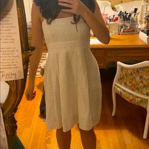 White button up eyelet dress